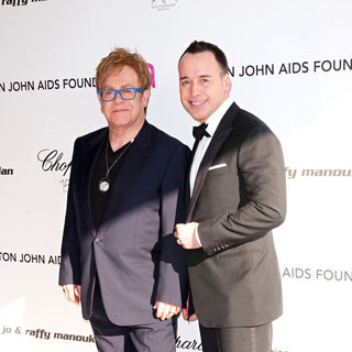 Elton John, David Furnish in 18th Annual Elton John AIDS Foundation Academy Awards (Oscars) Viewing Party - Arrivals