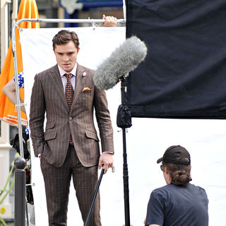 Ed Westwick in On The Set of 'Gossip Girl'