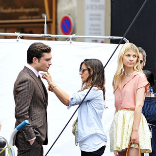 Ed Westwick, Clemence Poesy in On The Set of 'Gossip Girl'