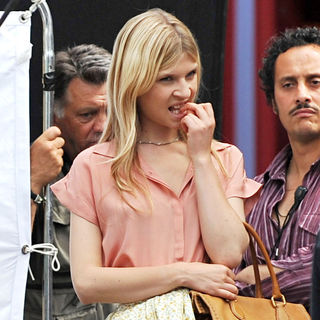 Clemence Poesy in On The Set of 'Gossip Girl'