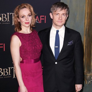 Amanda Abbington, Martin Freeman in Premiere of The Hobbit: An Unexpected Journey