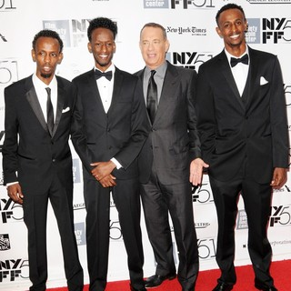 Barkhad Abdi, Mahat M. Ali, Tom Hanks, Faysal Ahmed in The 51st New York Film Festival - Captain Phillips World Premiere - Red Carpet Arrivals