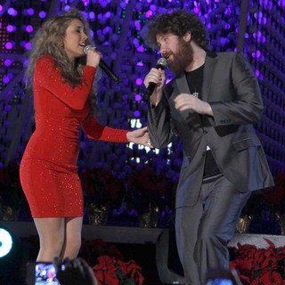Haley Reinhart, Casey Abrams in The 4th Annual Holiday Christmas Tree Lighting Ceremony and The Opening of LA Kings