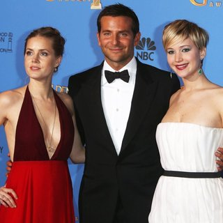 Amy Adams, Bradley Cooper, Jennifer Lawrence in 71st Annual Golden Globes - Press Room