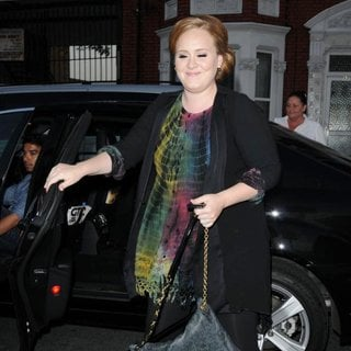 Adele in Celebrities Arrive at O2 Shepherds Bush Empire Ahead of Beyonce's New Album Launch and Performance
