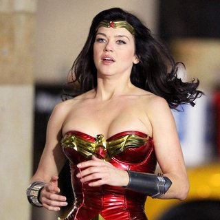 Adrianne Palicki in Filming on The Set of Wonder Woman