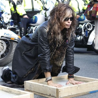 Steven Tyler, Aerosmith in Aerosmith Leave Their Hand Prints After Performing in Front of 1325 Commonwealth Ave