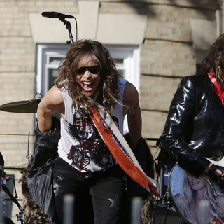 Joey Kramer, Steven Tyler, Joe Perry, Aerosmith in Aerosmith Perform in Front of 1325 Commonwealth Ave, Which Was Their Home in The Early 1970's