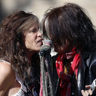 Steven Tyler, Joe Perry, Aerosmith in Aerosmith Perform in Front of 1325 Commonwealth Ave, Which Was Their Home in The Early 1970's