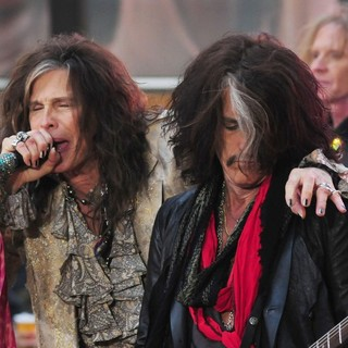 Steven Tyler, Joe Perry, Tom Hamilton, Aerosmith in Aerosmith Performing Live During The Today Show Concert Series