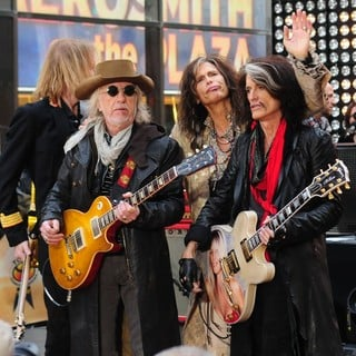 Tom Hamilton, Brad Whitford, Steven Tyler, Joe Perry, Aerosmith in Aerosmith Performing Live During The Today Show Concert Series
