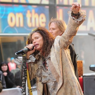 Steven Tyler, Tom Hamilton, Aerosmith in Aerosmith Performing Live During The Today Show Concert Series