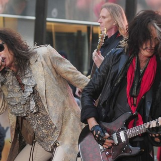 Steven Tyler, Tom Hamilton, Joe Perry, Aerosmith in Aerosmith Performing Live During The Today Show Concert Series