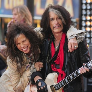 Tom Hamilton, Steven Tyler, Joe Perry, Aerosmith in Aerosmith Performing Live During The Today Show Concert Series