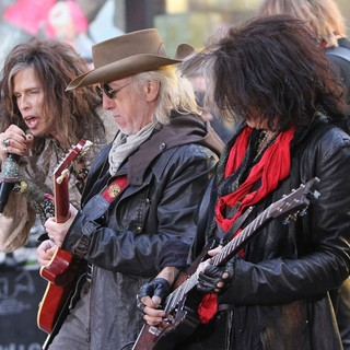 Steven Tyler, Brad Whitford, Joe Perry, Aerosmith in Aerosmith Performing Live During The Today Show Concert Series