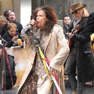 Steven Tyler, Brad Whitford, Aerosmith in Aerosmith Performing Live During The Today Show Concert Series