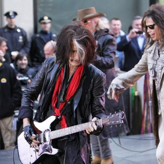 Joe Perry, Brad Whitford, Steven Tyler, Aerosmith in Aerosmith Performing Live During The Today Show Concert Series