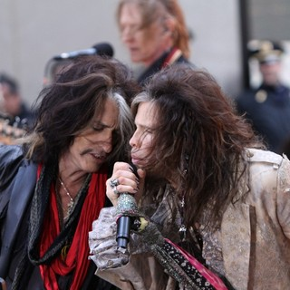 Joe Perry, Tom Hamilton, Steven Tyler, Aerosmith in Aerosmith Performing Live During The Today Show Concert Series