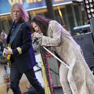 Tom Hamilton, Steven Tyler, Aerosmith in Aerosmith Performing Live During The Today Show Concert Series