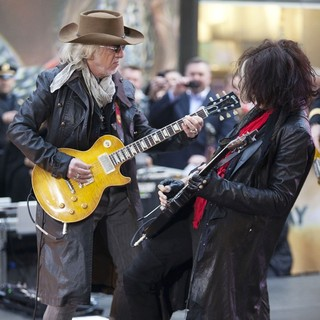 Brad Whitford, Joe Perry, Aerosmith in Aerosmith Performing Live During The Today Show Concert Series