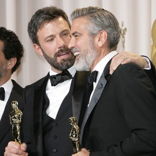 Ben Affleck, George Clooney in The 85th Annual Oscars - Press Room