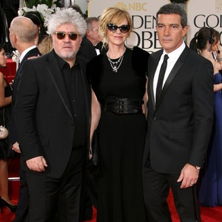 Pedro Almodovar, Melanie Griffith, Antonio Banderas in The 69th Annual Golden Globe Awards - Arrivals