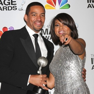Laz Alonso, Taraji P. Henson in The 43rd Annual NAACP Awards - Press Room