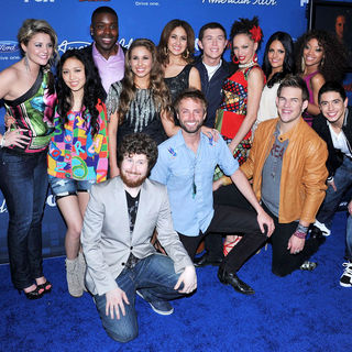 Lauren Alaina, Thia Megia, Haley Reinhart, Jacob Lusk, Karen Rodriguez, Scotty McCreery, Naima Adedapo, Pia Toscano, Ashthon Jones, Casey Abrams, Paul McDonald, James Durbin, Stefano Langone in The American Idol Season 10 Top 13 Finalists Party