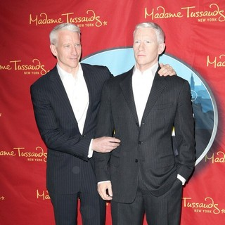 Anderson Cooper in Anderson Cooper AttendsThe Unveiling and Poses Next to His New Wax Figure
