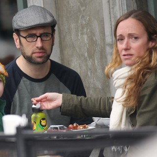 Andrew Lincoln Having Breakfast with His Family at Joan's on Third