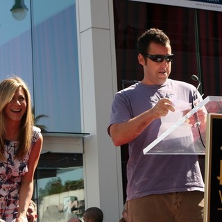 Jennifer Aniston, Adam Sandler in Jennifer Aniston Is Honored with A Star on The Hollywood Walk of Fame
