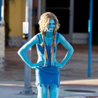 AnnaLynne McCord Is Seen in An 'Avatar' Like Costume while Shooting '90210' in Westwood