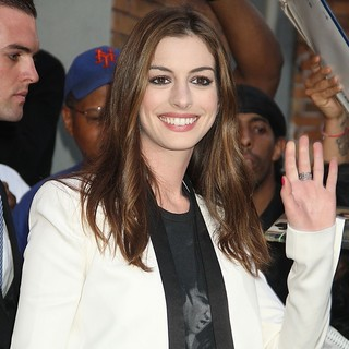 Anne Hathaway in Anne Hathaway Attends The Daily Show with Jon Stewart