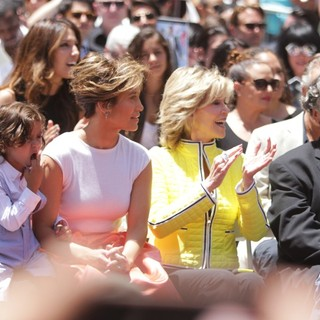 Emme Anthony, Casper Smart, Jennifer Lopez, Max Anthony, Jane Fonda, Gregory Nava in Jennifer Lopez Is Honoured with The 2,500th Star on The Hollywood Walk of Fame