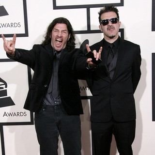 Frank Bello, Charlie Benante, Anthrax in The 56th Annual GRAMMY Awards - Arrivals