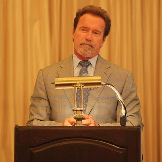 Arnold Schwarzenegger in Celebration of Life Honoring Fitness Publishing Icon Robert 'Bob' Kennedy
