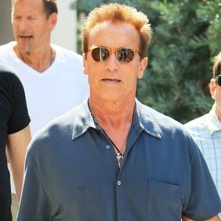 Arnold Schwarzenegger in Arnold Schwarzenegger Seen Leaving Cafe Roma