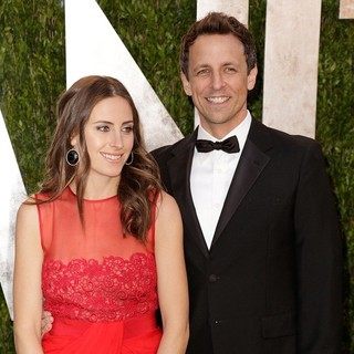 Alexi Ashe, Seth Meyers in 2013 Vanity Fair Oscar Party - Arrivals