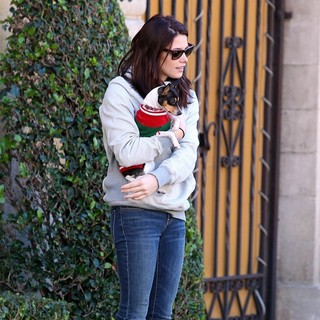 Ashley Greene Takes Her Dog for A Walk