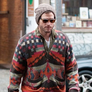 Ashton Kutcher on His Way to A Cafe on Chausseestrasse Street