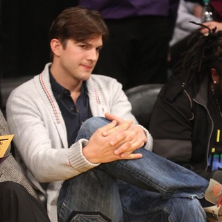 Ashton Kutcher in Celebrities Watch The LA Lakers Play Minnesota Timberwolves
