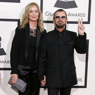 Barbara Bach, Ringo Starr in The 56th Annual GRAMMY Awards - Arrivals