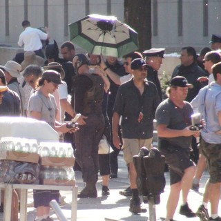 Christian Bale, Tom Hardy in The Dark Knight Rises Filming