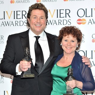 Michael Ball, Imelda Staunton in The Olivier Awards 2013 - Press Room