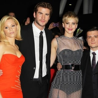 Elizabeth Banks, Liam Hemsworth, Jennifer Lawrence, Josh Hutcherson in The Hunger Games: Catching Fire Premiere