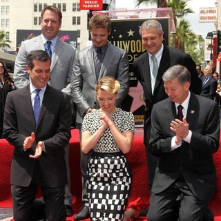 Christopher Barton, Eric Garcetti, Jeremy Renner, Scarlett Johansson, Leron Gubler in Scarlett Johansson Is Honored with A Star on The Hollywood Walk of Fame