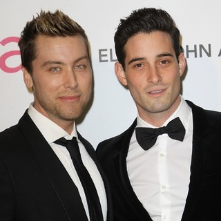 Lance Bass, Michael Turchin in 21st Annual Elton John AIDS Foundation's Oscar Viewing Party