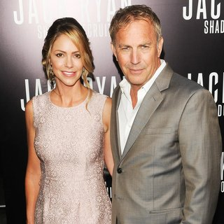 Christine Baumgartner, Kevin Costner in Los Angeles Premiere of Jack Ryan: Shadow Recruit - Red Carpet Arrivals