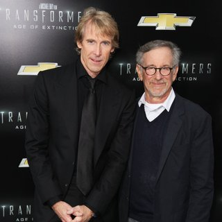 Michael Bay, Steven Spielberg in New York City Premiere of Transformers: Age of Extinction