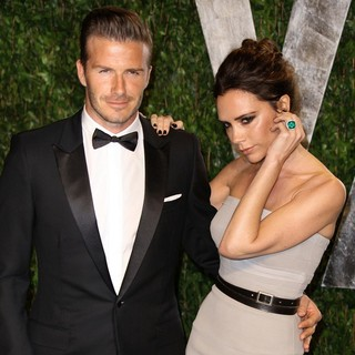 David Beckham, Victoria Adams in 2012 Vanity Fair Oscar Party - Arrivals